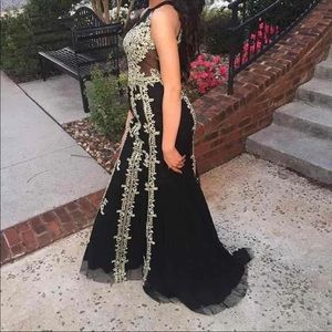 Clarissa Black And Gold Prom Dress Pageant Gown